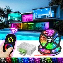 Светодиодная лента 5 м светильник сенсорный Управление RGB 5050 Водонепроницаемый светодиодных лент 10 м 15 м гибкая лента светодиодная лента дл...