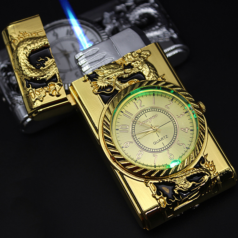 Luxurious Gold Watch Jet Lighter Torch Turbo Gas Lighter Windproof Cigar Cigarette Metal Lighter Led Inflated Gasoline Butane