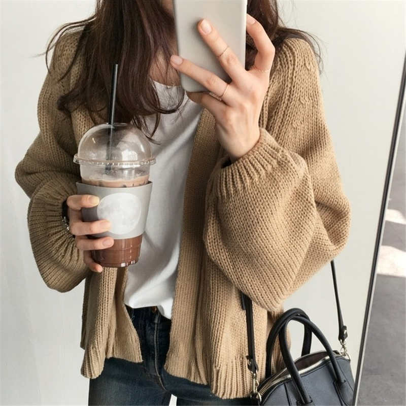 2019 Korean Style Women Cardigan Loose Casual Knitted Sweater Female Jumper Sweaters Outwear Open Stitch Coat Sweaters MY852
