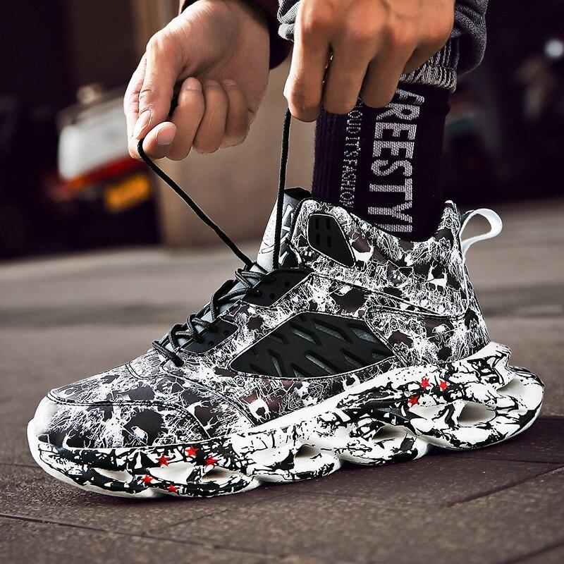 패션 남자 힙합 스트리트 댄스 신발 낙서 높은 상위 Chunky 스 니 커 즈 가을 여름 캐주얼 메쉬 신발 소년 Zapatos Hombre