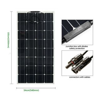 Image 5 - الصين أحادية الخلايا الشمسية عالية الكفاءة 100 واط سعر المصنع تصاعد ألواح الطاقة الشمسية المصنوعة من خلية فولطا ضوئية للبيع 12 فولت شاحن بالطاقة الشمسية 200 واط 300 واط 400 واط