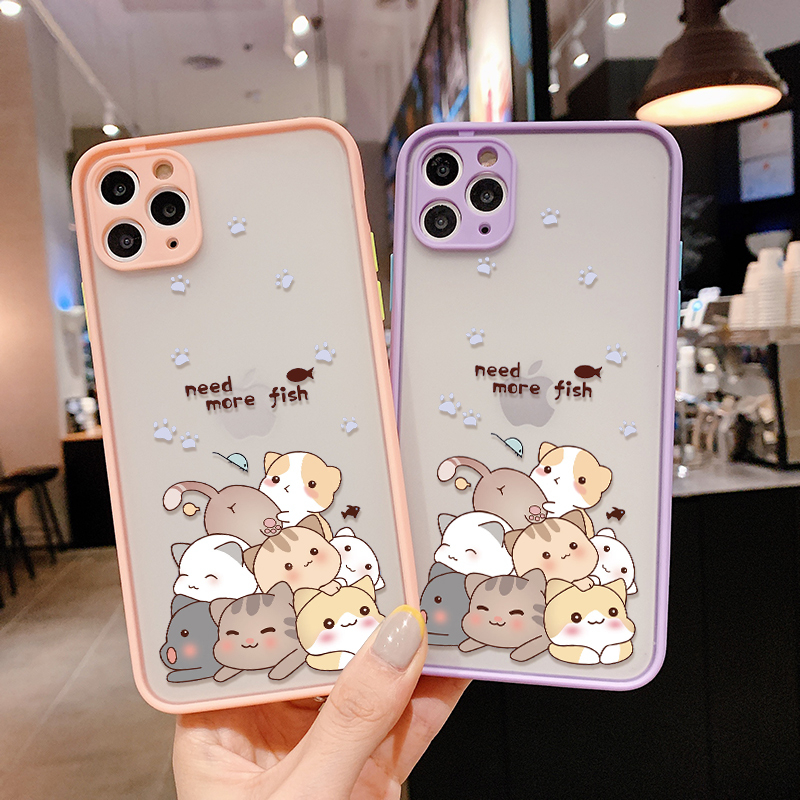 Cat Small Fish <font><b>Original</b></font> Design Fashion Luxury Logo Matte Silicone <font><b>Case</b></font> For <font><b>IPhone</b></font> 7 8 Plus XR <font><b>XS</b></font> 11 Pro Max For <font><b>iPhone</b></font> SE2 2020 image