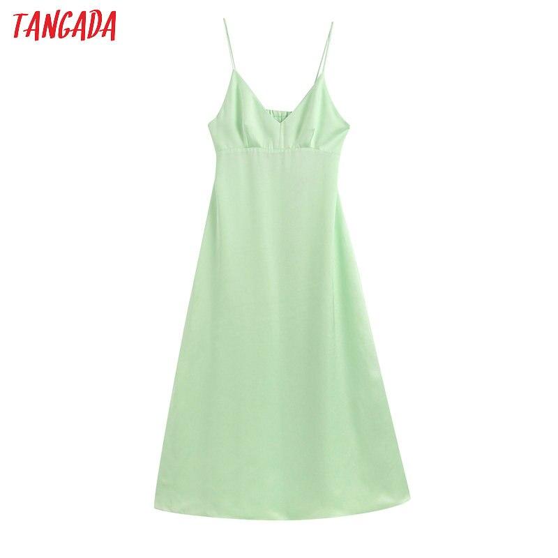 Tangada Fashion Women Green Summer Beach Dress Backless V Neck Strap Ladies Sexy Midi Dress Vestidos BE350