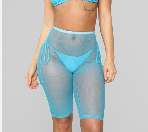 Goocheer Women Sexy Solid Color Mesh Sheer Short Trousers Bikini Cover Up Beach Transparent Pants Sexy High Waist 3d   Leggings