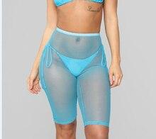 Goocheer Women Sexy Solid Color Mesh Sheer Short Trousers Bikini Cover Up Beach Transparent Pants High Waist 3d Leggings
