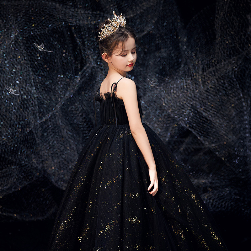 Children Evening Gown Girls Princess Skirt Puffy Yarn Black And White With Pattern Model Catwalks Piano Performance Wear Little