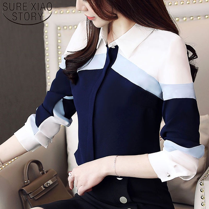 Fashion womens tops and   blouses   2019 chiffon   blouse     shirts   women tops long sleeve ladies tops button spliced office lady 5302 50