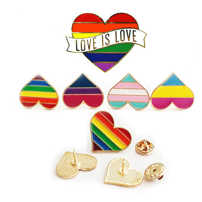 2019 Rainbow Heart Enamel Pins Gay Lesbian Pride LGBT Pin Badge Love Is Love Awareness  Brooches  Jewelry For Men Women Unisex skipping rope