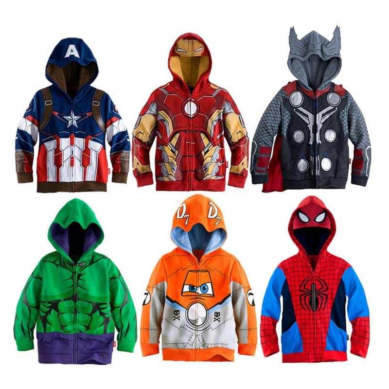 Boys Hoodies Coats Avengers Marvel Superhero Iron Man Thor Hulk Captain America Spiderman Sweatshirt For Boys Autumn Kid Jacket