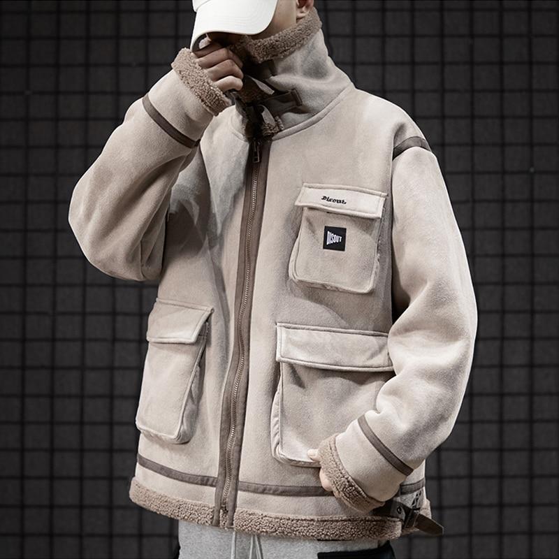 Faux cuir daim veste manteau hommes pleine fermeture éclair hiver chaud laine d'agneau col montant vêtement de motard grande taille Bomber vestes - 4