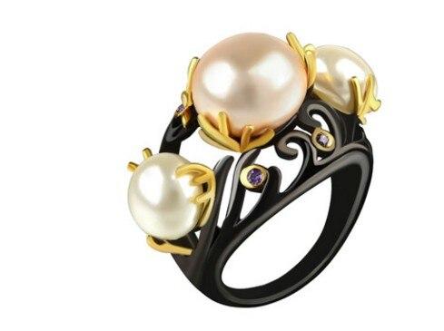 Lady Wholesael Ring-Size Pearl Diamond 925-Silver Crystal Inlay 6--10 V6.6u Chaming 3pcs/lots