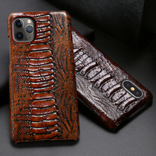 Genuine Leather Phone Case For iPhone 11 Pro Cases Ostrich Foot Texture For Apple X XS Max XR 6 6S 7 8 Plus SE 2 2020 Back Cover genuine leather phone case for iphone 11 pro cases litchi texture for apple x xs max xr 6 6s 7 8 plus se 2 cowhide cover funda