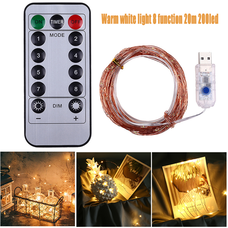 20M Length Warm White LED Firefly Bunch Lights USB 8 Modes Twinkle Party String Light For Tabletop Displays Ornamental Bushes