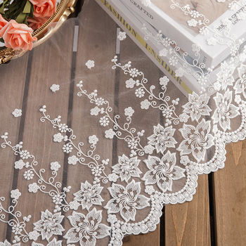 35cm wide lace fabric white flower embroidery lace trim curtains clothes dressmaking needlework DIY decoration accessories new 110cm wide wedding dress lace embroidery diy women clothes materials clothing fabric accessories ivory white church happy hour