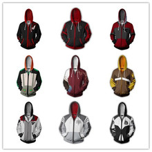 Hot style cosplay anime 3 d printing fleece RWBY qiu dong with velvet thickening zipper hooded jacket