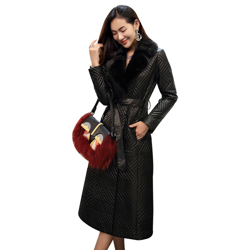 New Womens Genuine Leather Winter Coat With Real Mink Fur Collar Female Natural Sheepskin Coat With Belt Luxury Good Quality