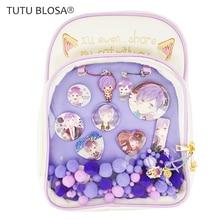 2019 New Transparent Ita Bag Pu Leather Kawaii Ita Backpack for Teenager Girls Clear Cute Backpack Back To School Itabag H813