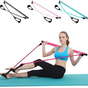 Pilates stick sports fitness equipment home yoga multi-functional abdomen chest expander arm power device puller 1