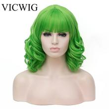 VICWIG Green Wigs For Women Cosplay Wig  With Bangs Short Hair Curly Synthetic Wig miss peregrine s home for peculiar children miss perry green cosplay wig eva green black short curly hair wigs