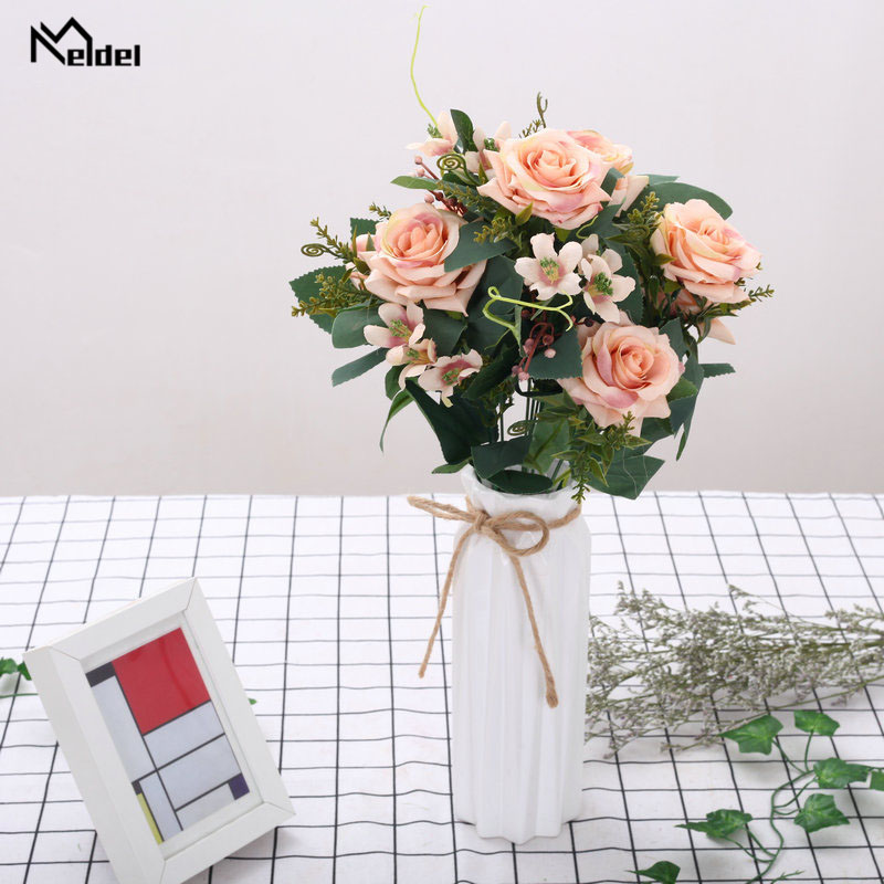 12 Heads Rose Pink Silk Bouquet Artificial Flowers Faux Roses Flores Bride Bouquet Wedding Home Table Decor Fake Flowers Bunch