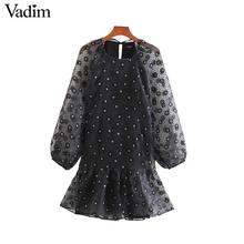 Vadim women sweet floral pattern mini dress lantern sleeve straight style female casual stylish Organza dresses vestidos QD148
