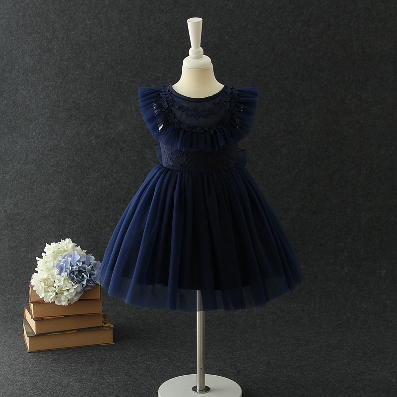 2019 Summer Birthday Baby Girl Dress Navy Blue Fashion Princess Vestidos Baby Clothes For Girls Of 1 2 Years Old RKF184078