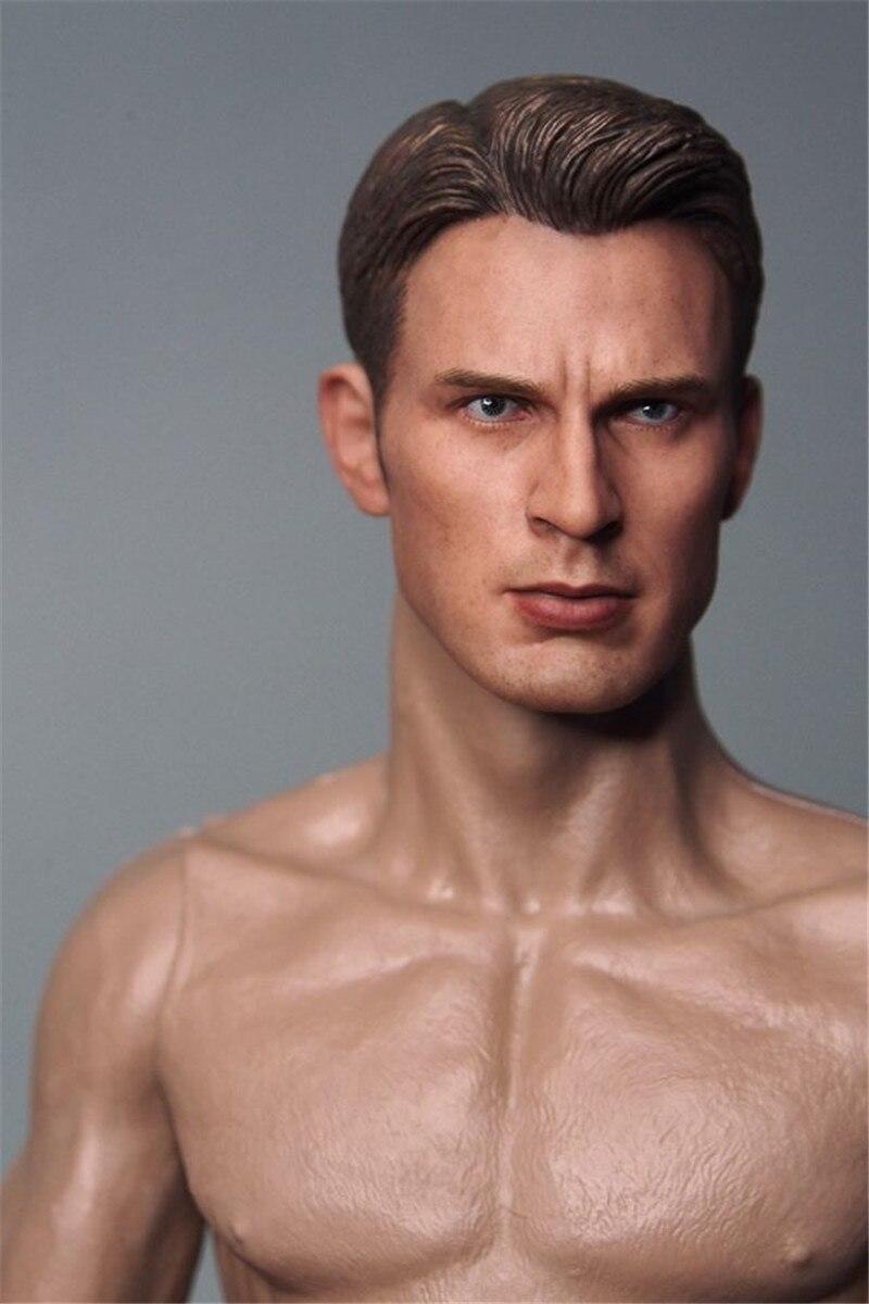 1:6 Scale Captain America Steve Rogers Carved Head Sculpt F Muscular Figure Body