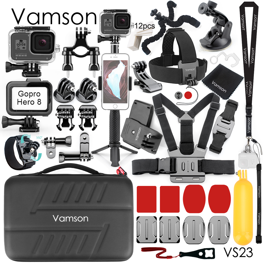 Vamson for GoPro Action Camera Accessories Waterproof Housing case for GoPro Hero 8 Black Mount Monopod Tripod Accessories VS23