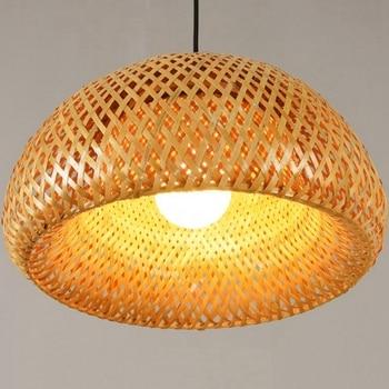 Nieuwe Bamboe Rieten Rotan Lampenkap Handgeweven Double Layer Bamboe Dome Lampenkap Aziatische Rustieke Japanse Lamp Ontwerp Lampenkappen    -