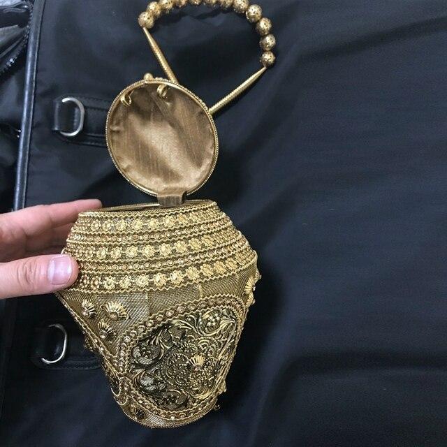 DOYUTIG Retro indyjski projekt ręcznie robiona metalowa torebka kobiety diamentowe koraliki ślubne sprzęgła pani moda torba wieczorowa na imprezę F751