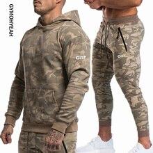 GYMOHYEAH Sportsuits Set Men Brand Fitness Suits autumn Sets Long Sleeve Camouflage Hoodies+Pants Gyms Casual tracksuit Suit