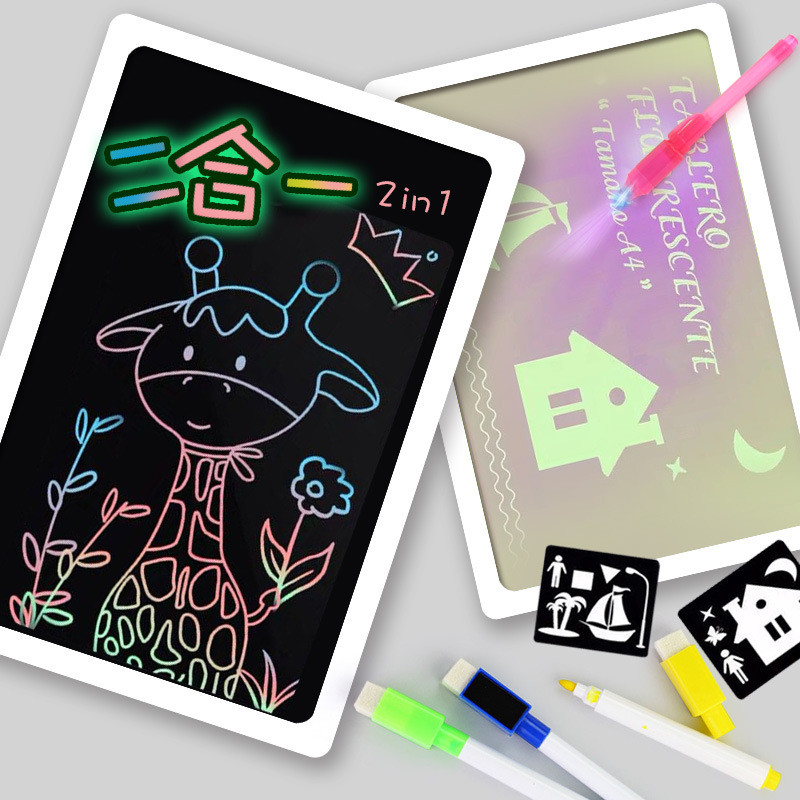 H7118f1d16828486c97ef0fbebfdfe37b4 - Educational Toy Drawing Board Tablet Graffiti 1pc A4 A3 Led Luminous Magic Raw With Light-fun
