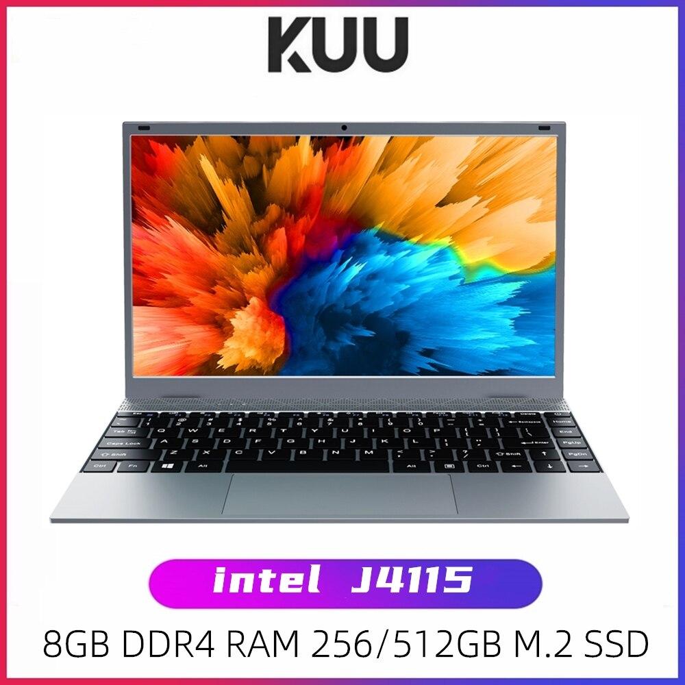 KUU XBOOK 14,1 дюймов 8 Гб DDR4 RAM 128 ГБ 256 ГБ SSD Windows 10 ноутбук Intel J4115 Quad Основная клавиатура студенческий ноутбук