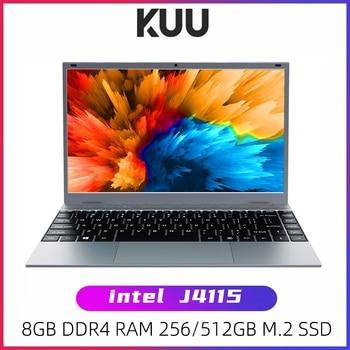 KUU XBOOK 14.1 Inch 8GB DDR4 RAM 128G 256G SSD Windows 10 laptop Intel J4115 Quad core Backlight Keyboard Student Notebook