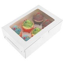Cajas de panadería con 6 compartimentos, recipiente para muffins con ventana y divisores, color blanco, 12 Uds.