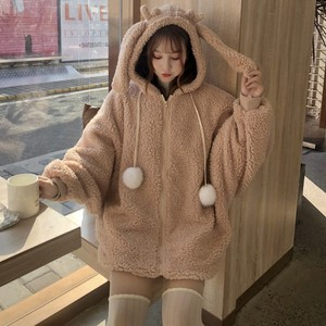 Image 4 - Elegante Faux Fur Hoodie Jas Vrouwen Herfst Winter Warm Soft Bont Rits Hoodies Pocket Leuke Konijnenoren Pluche Hoodies Sweatshirt