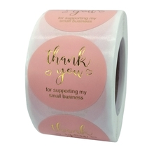 Labels for Business Pink Thank-You Stickers Roll Foil Gold 500pcs