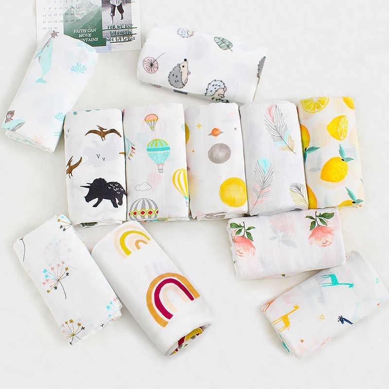 Bambusowe koce dla dzieci noworodka otulacz dla niemowląt bawełna przewijać dziecko muślin kocyk do owijania 120*120cm