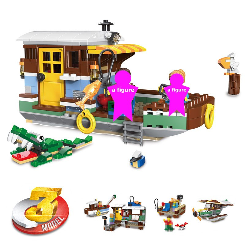 Creator 3in1 Riverside Houseboat Fshing boat Building Blocks Kit Bricks City Classic Model Kids Toys For Children birthday Gift image