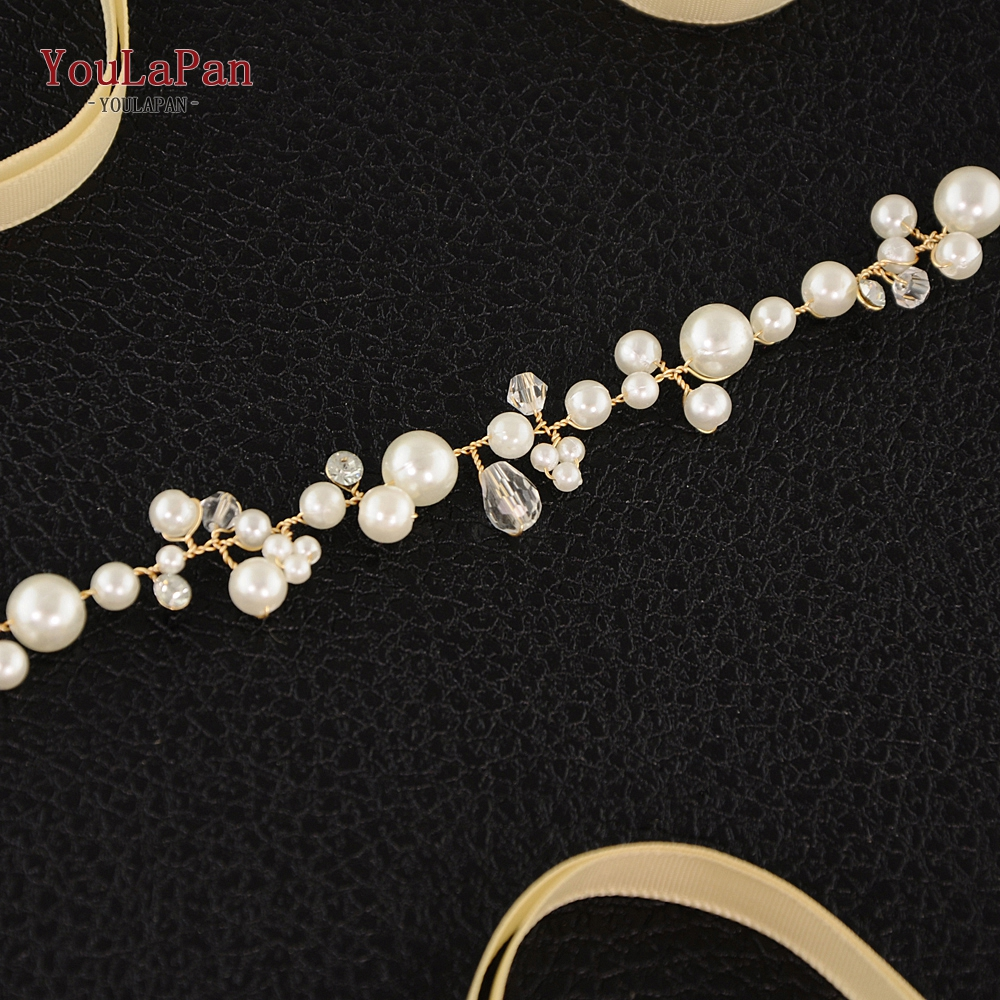 Купить с кэшбэком YouLaPan SH03 Silver Golden Crystal Bridal Belts Handmade Wedding Thin Belts Pearl Wedding Sash Belt Wedding Dress Accessories
