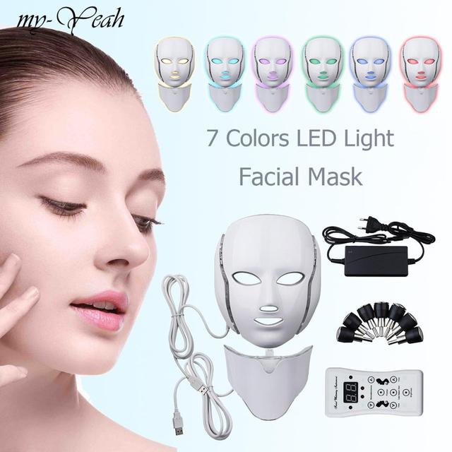 LED Facial Mask Photon Therapy Skin Care Mask with Neck 7 Colors Light Mask Wrinkle Acne Removal Face Beauty Tool