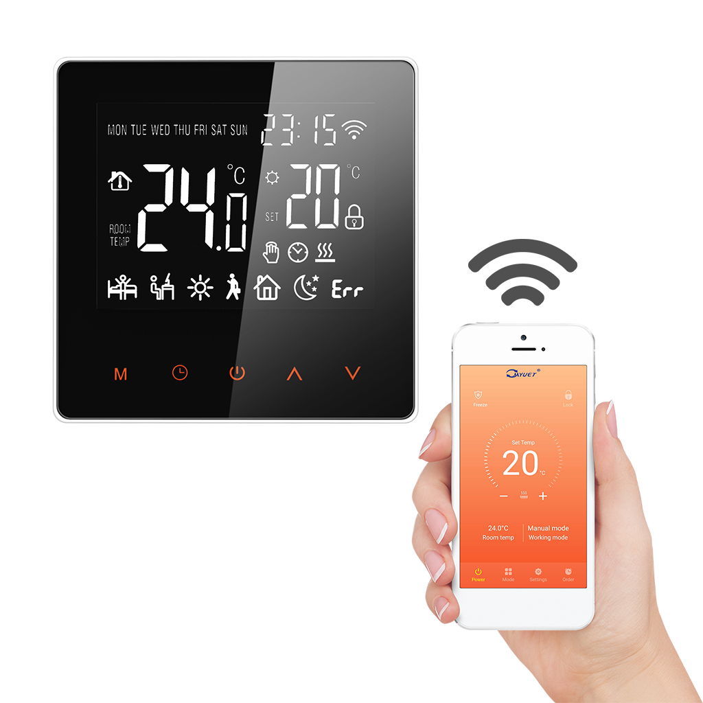 FLOUREON Smart WiFi Thermostat Heat Controller Touch Screen Electric Heating Smart Temperature Control System For Home Office