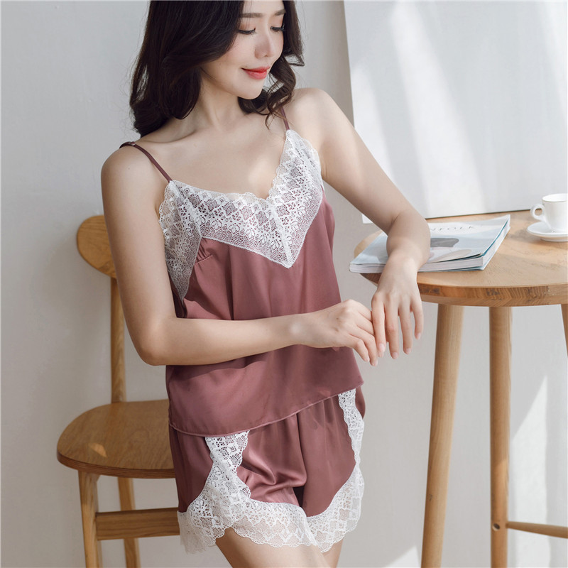 Autumn Suspender Shorts Two-piece Suit Ice Silk Pajamas Female Sexy Large Size Lace Silk Home Clothes