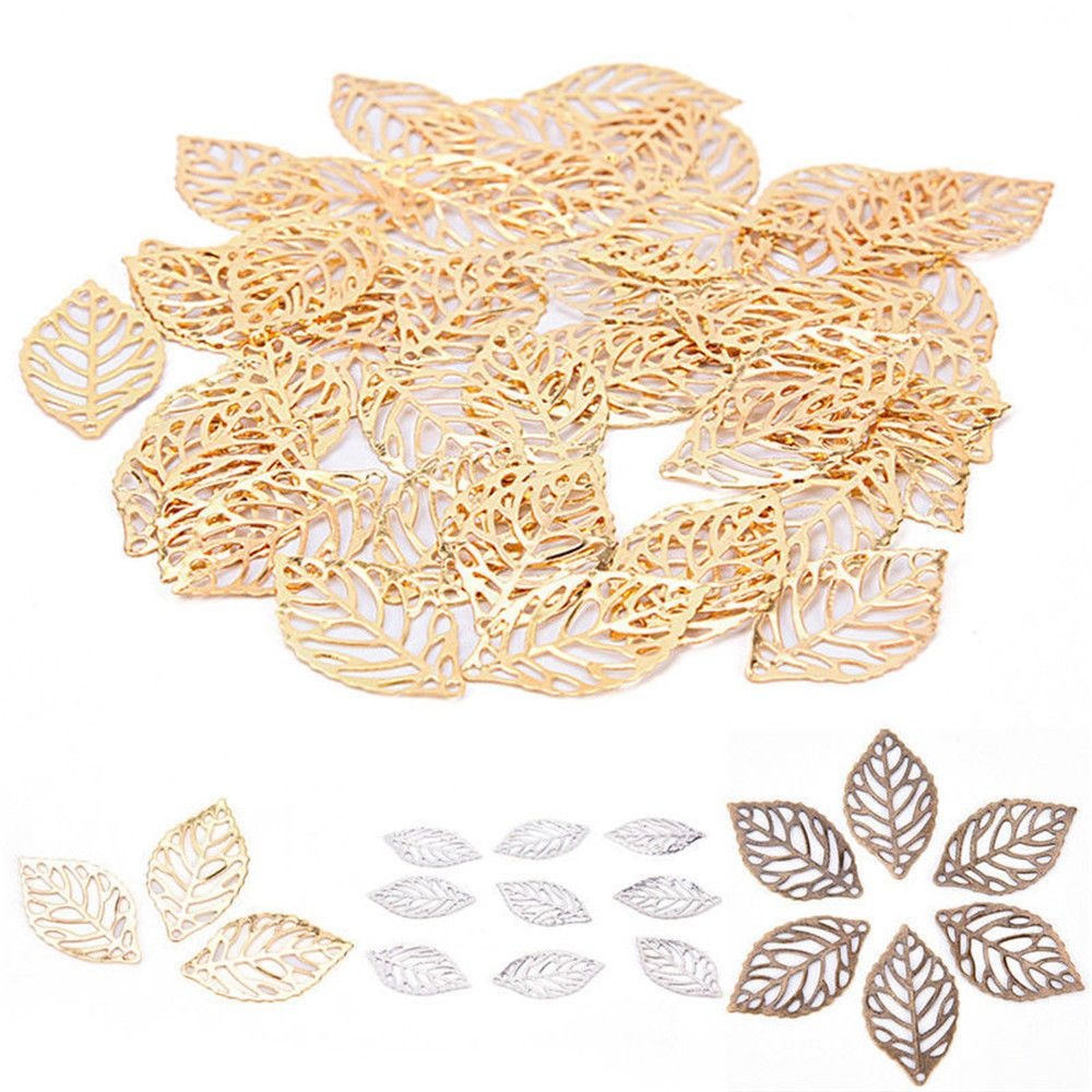 Hot New 50 Pcs DIY Gold Charm Jewelry Making Plated For Hair Comb Craft Hollow Leaves Pendant Retro Jewelry Accessories