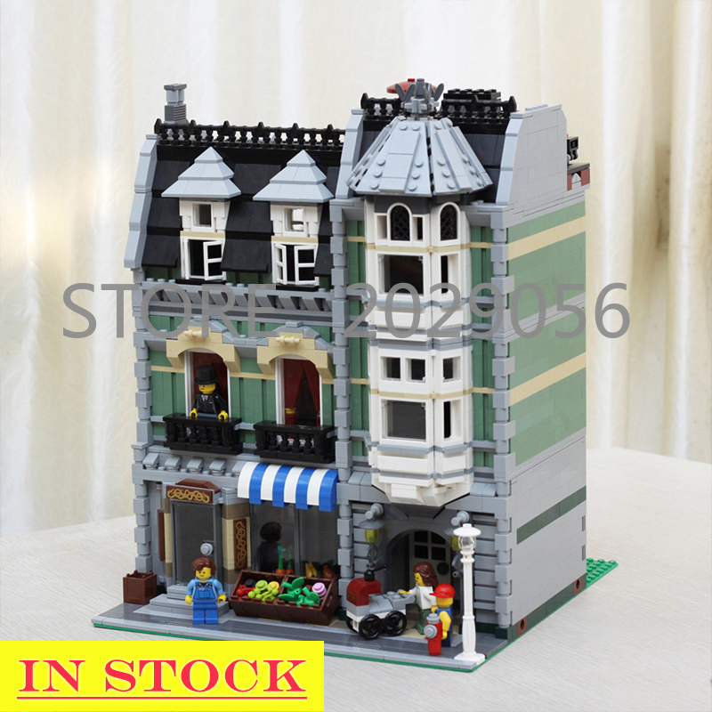 In Stock <font><b>15008</b></font> Street View Creator Series Green <font><b>Grocer</b></font> Building Blocks 2352pcs Toys For Children Compatible With 10185 Bela image