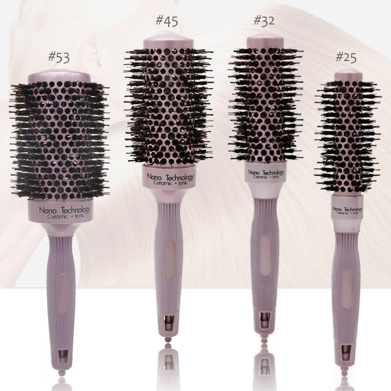 Новая керамическая щетиная алюминиевая роликовая расческа термальная проводящая Антистатическая алюминиевая трубка для ухода за волосам...