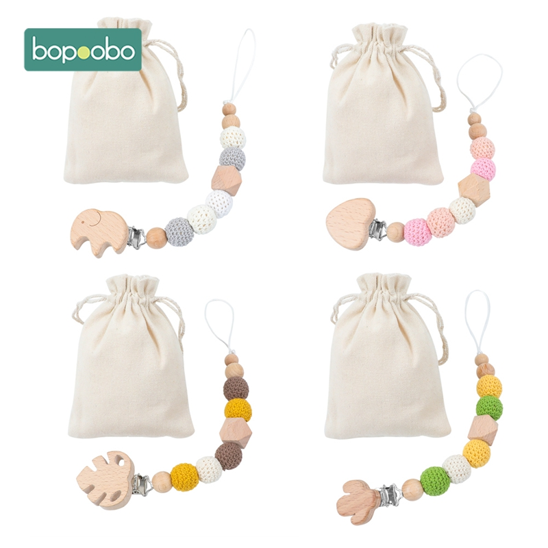 Bopoobo 1pc Baby Crochet Beaded Pacifier Chain Plush Animal Toys Soother Nipples Holder Newborn Toy Feeding Baby Accessories Toy