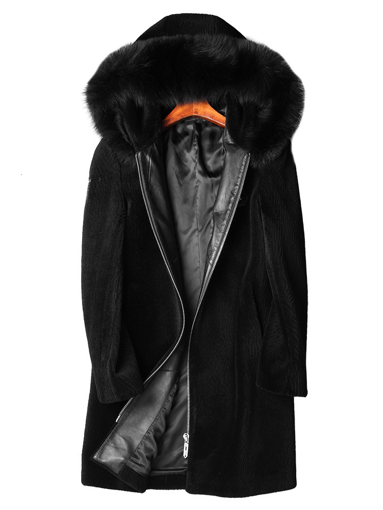 Real Sheep Shearling Fur Coat Winter Jacket Men Fox Fur Collar Long Coats Real Wool Coat Plus Size Jackets S-7106-2 Y1582