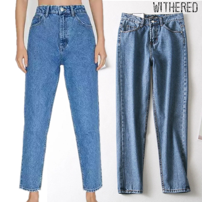 Withered 2019 high street denim mom   jeans   woman vintage washed blue high waist   jeans   straight regular boyfriend   jeans   for women