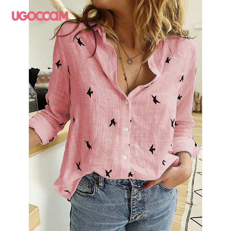 H7119e8ccd001409694285f7284466d81N - UGOCCAM Women Blouse Long Sleeve Blouse Shirt Print Office Turn-down Collar Blouse Elegant Work Plus Size Tops Fashion Women Top